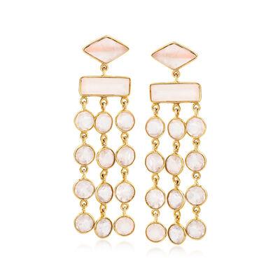 Rose Quartz Chandelier Earrings in 18kt Gold Over Sterling, , default
