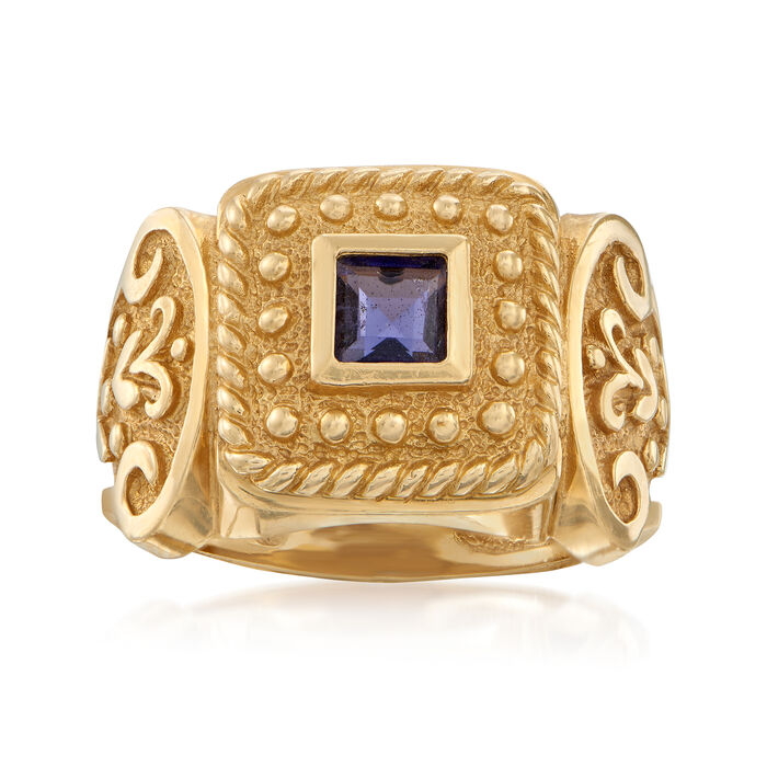 C. 1980 Vintage .30 Carat Iolite Beaded Ring in 14kt Yellow Gold
