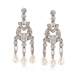 C. 1990 Vintage 2.15 ct. t.w. Diamond Drop Earrings With Cultured Pearls in Platinum, , default
