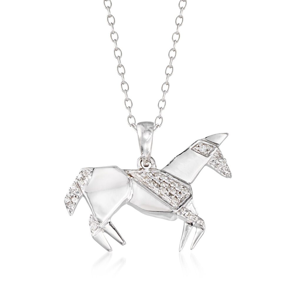 Sterling silver horse pendant necklace with diamond accents 18 sterling silver horse pendant necklace with diamond accents 18quot default aloadofball Gallery