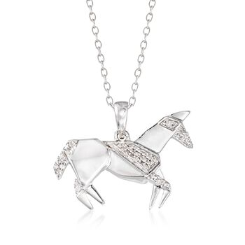 "Sterling Silver Horse Pendant Necklace With Diamond Accents. 18"", , default"