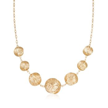 "Italian 14kt Yellow Gold Twisted Lace Ball Necklace. 17.5"", , default"