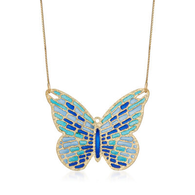 Italian Cathedral Enamel  Butterfly Pendant Necklace in 14kt Yellow Gold, , default