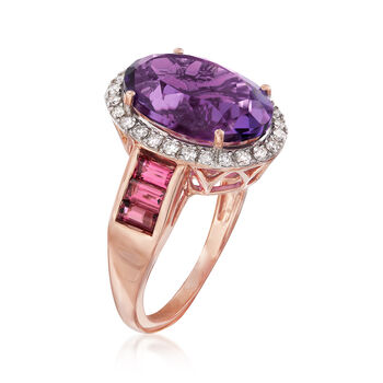 6.25 Carat Amethyst and 1.03 ct. t.w. Multi-Stone Ring in 14kt Rose Gold, , default