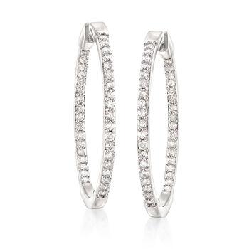"""2.00 ct. t.w. Diamond Inside-Outside Hoop Earrings in Sterling Silver. 1 1/2"""""""