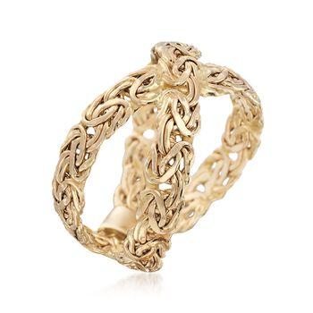 14kt Yellow Gold Byzantine Crisscross Ring, , default