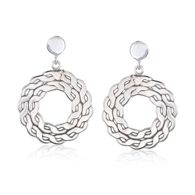 Italian Sterling Silver Open-Space Wreath Drop Earrings, , default