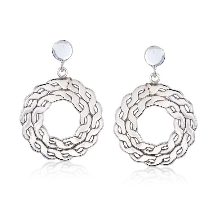 Italian Sterling Silver Open-Space Wreath Drop Earrings
