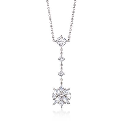 1.50 ct. t.w. Multi-Cut CZ Floral Drop Necklace in Sterling Silver, , default