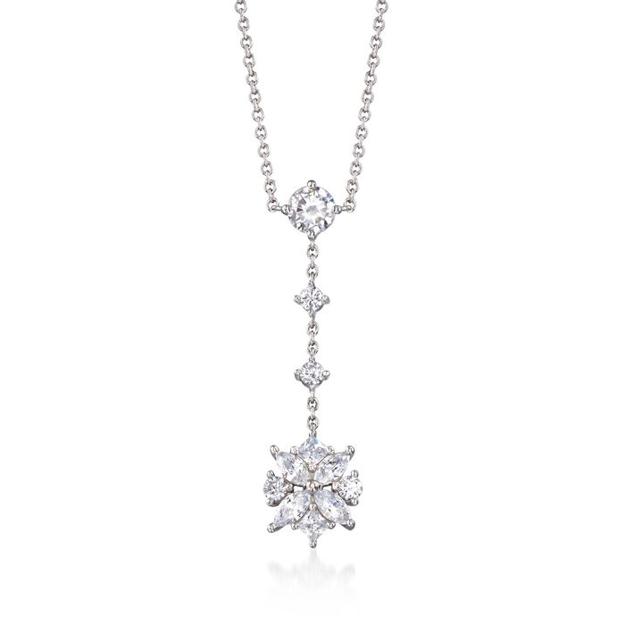 "1.50 ct. t.w. Multi-Cut CZ Floral Drop Necklace in Sterling Silver. 16"", , default"