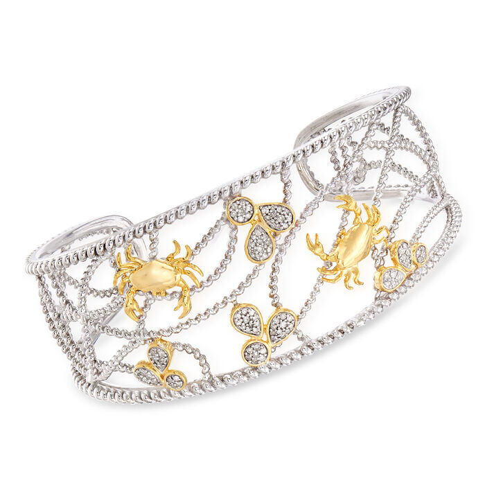 ".33 ct. t.w. Diamond Crab Cuff Bracelet in Sterling Silver and 18kt Gold Over Sterling. 7"", , default"