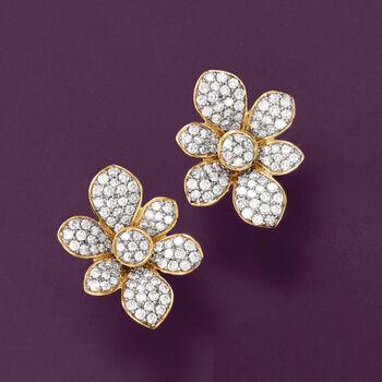 1.50 ct. t.w. Diamond Flower Earrings in 14kt Yellow Gold