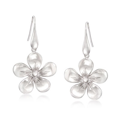 Italian Sterling Silver Floral Drop Earrings, , default