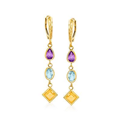 6.30 ct. t.w. Multi-Stone Drop Earrings in 14kt Yellow Gold, , default