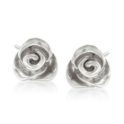Italian Sterling Silver Rose Earrings , , default