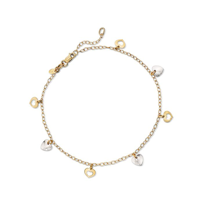 """Italian 14kt Two-Tone Gold Heart Anklet. 9"""", , default"""
