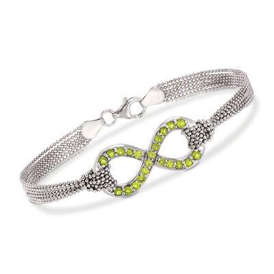 Italian 1.10 ct. t.w. Peridot Infinity Symbol Multi-Strand Bracelet in Sterling Silver, , default