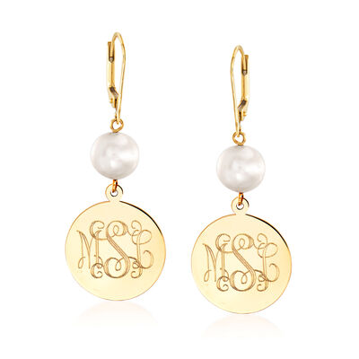 9-9.5mm Cultured Pearl Personalized Drop Earrings in 14kt Yellow Gold, , default