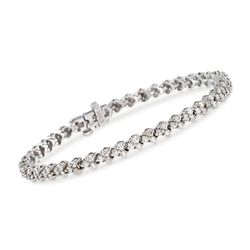 "C. 2000 Vintage 3.15 ct. t.w. Diamond Bracelet in 14kt White Gold. 6.75"", , default"