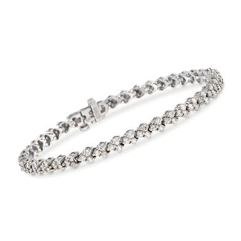 "C. 2000 Vintage 3.15 ct. t.w. Diamond Bracelet in 14kt White Gold. 6.75"", , default"