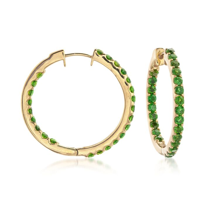 "3.30 ct. Tw. Chrome Diopside Inside-Outside Hoop Earrings in 14kt Gold Over Sterling. 1"", , default"