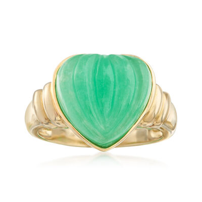 13mm Carved Green Jade Heart Ring in 14kt Yellow Gold, , default