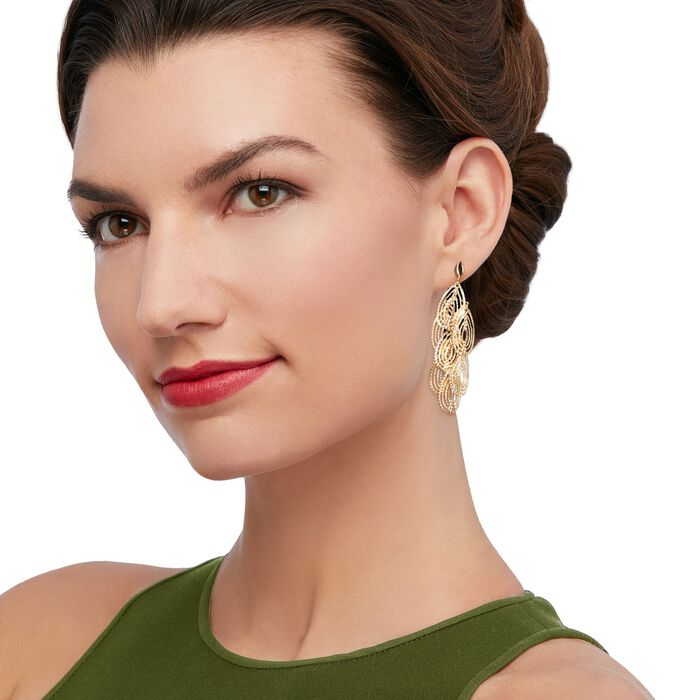 Italian 18kt Yellow Gold Open Diamond-Cut Chandelier Earrings