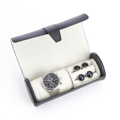 Royce Black Leather Watch and Cuff Link Roll, , default