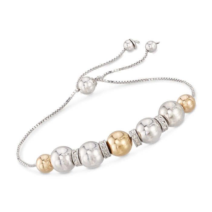 6-8mm Sterling Silver and 14kt Yellow Gold Bead Bolo Bracelet with .24 ct. t.w. Diamonds