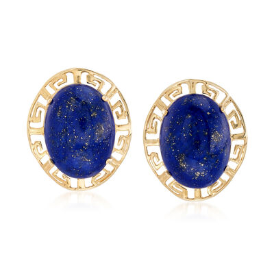 Lapis and Greek Key Earrings in 14kt Yellow Gold, , default