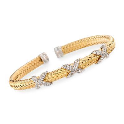 """Charles Garnier """"Asolo"""" Italian 1.20 ct. t.w. CZ Cuff Bracelet in Two-Tone Sterling Silver, , default"""