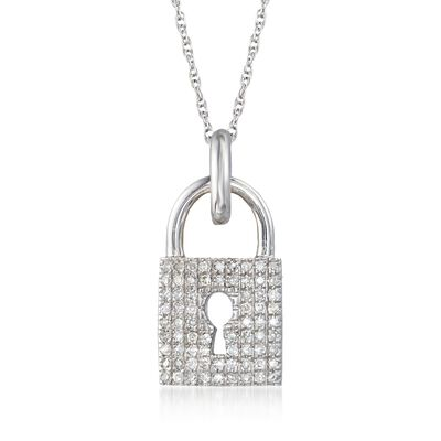 .13 ct. t.w. Diamond Lock Pendant Necklace in 14kt White Gold, , default