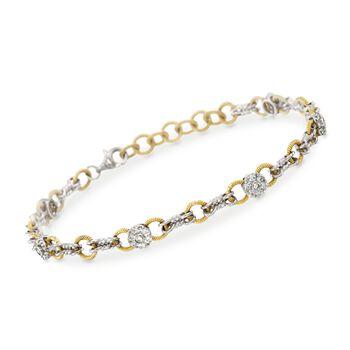 "Simon G. .70 ct. t.w. Diamond Station Link Bracelet in 18kt Two-Tone Gold. 7"", , default"