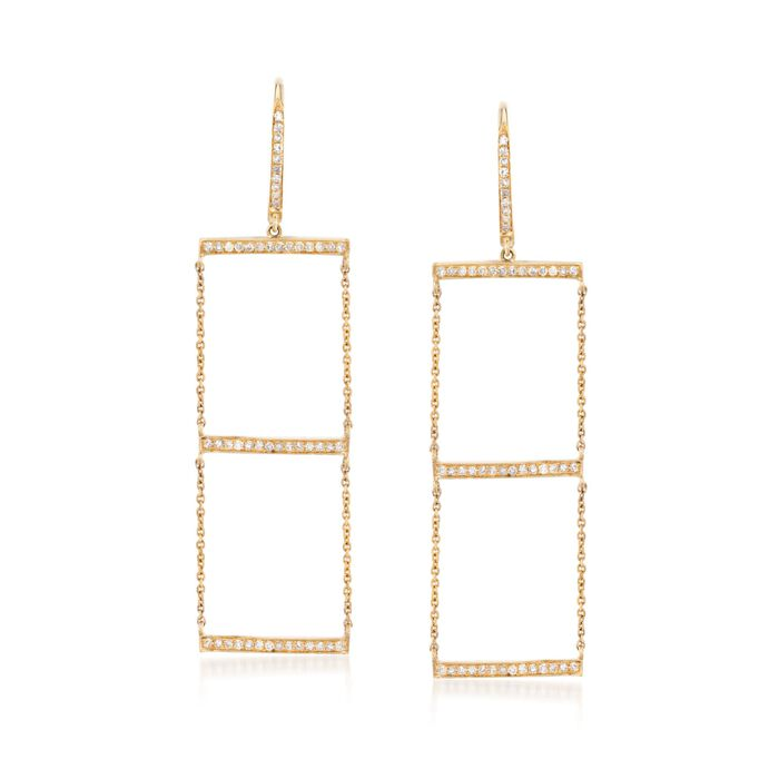 .31 ct. t.w. Diamond Bar and Chain Drop Earrings in 14kt Yellow Gold, , default