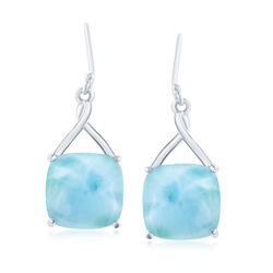 Cabochon Larimar Drop Earrings in Sterling Silver, , default