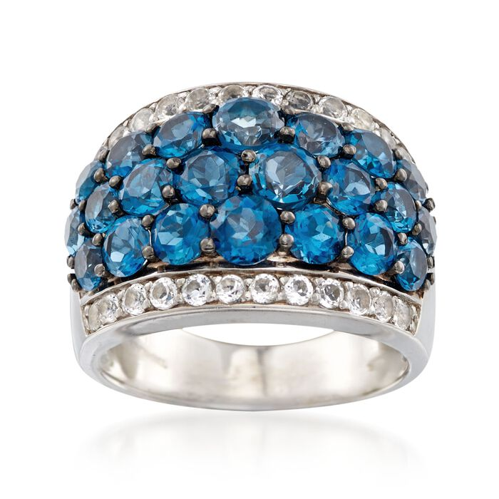 5.00 ct. t.w. London Blue and White Topaz Ring in Sterling Silver, , default