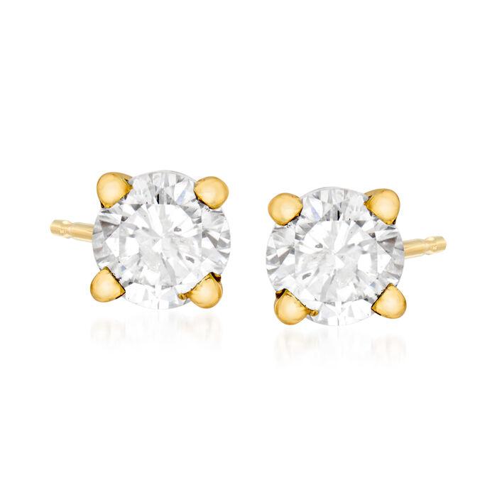 C. 1990 Vintage .70 ct. t.w. Diamond Stud Earrings in 14kt Yellow Gold