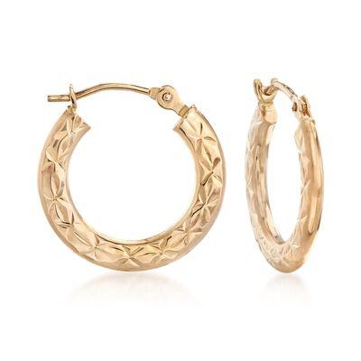 14kt Yellow Gold Star Patterned Hoop Earrings, , default