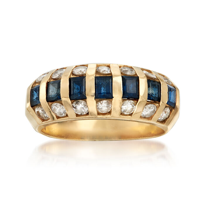C. 1980 Vintage 1.05 ct. t.w. Sapphire and .85 ct. t.w. Diamond Dome Ring in 14kt Yellow Gold. Size 6, , default