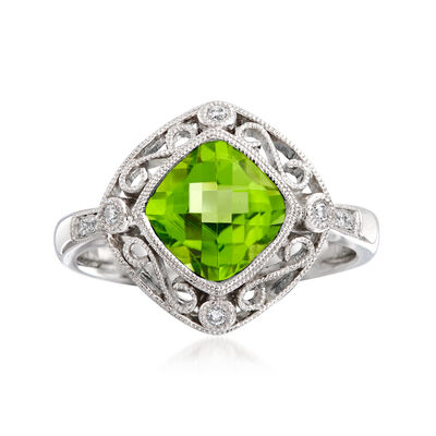 C. 2000 Vintage 2.30 Carat Peridot and .15 ct. t.w. Diamond Ring in 14kt White Gold, , default