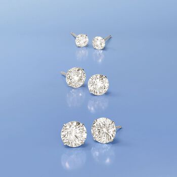 1.00 ct. t.w. CZ Stud Earrings in 14kt White Gold, , default