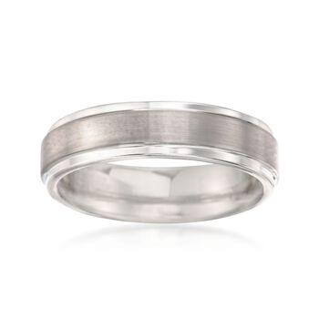 Men's 6mm Tungsten Carbide Brushed Wedding Band, , default