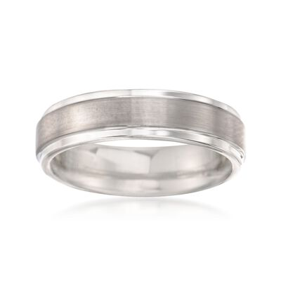 Men's 6mm Tungsten Carbide Brushed Wedding Band, , default