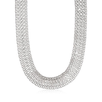 Italian Sterling Silver Mesh Chain Necklace, , default