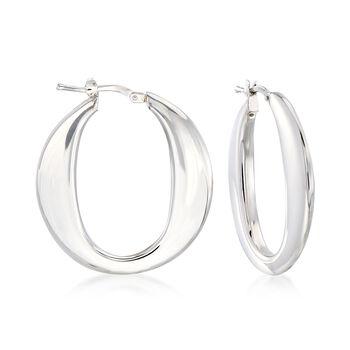 """Italian Sterling Silver Hoop Earrings. 1 1/4"""", , default"""