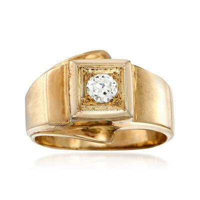 C. 1960 Vintage Men's .30 Carat Diamond Ring in 14kt Yellow Gold