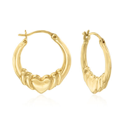 14kt Yellow Gold Claddagh Hoop Earrings