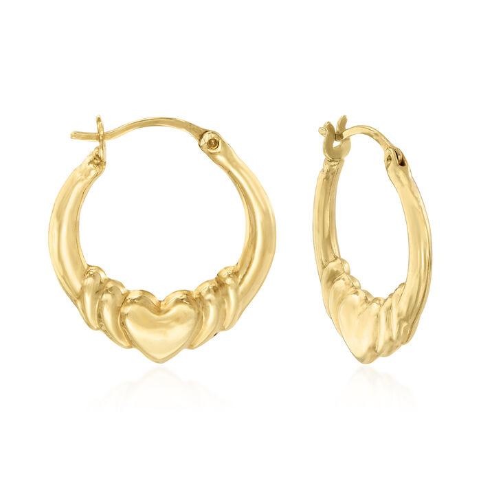 "14kt Yellow Gold Claddagh Hoop Earrings. 3/4"""