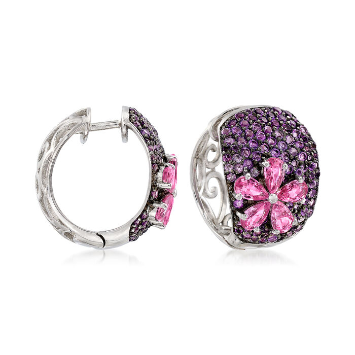 2.40 ct. t.w. Pink Sapphire and 2.00 ct. t.w. Amethyst Floral Hoops in Sterling Silver , , default