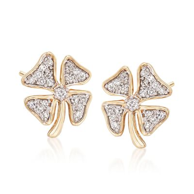 .10 ct. t.w. Diamond Four-Leaf Clover Earrings in 14kt Yellow Gold, , default
